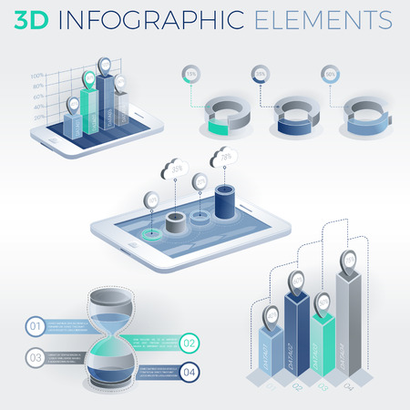 selling service: 3D Infographic Elements Vector illustration.