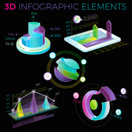 3D Infographic Elements template design