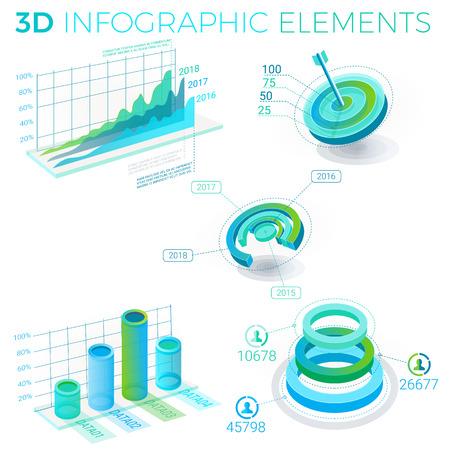 3D Infographic-elementenpatroonontwerp Stock Illustratie