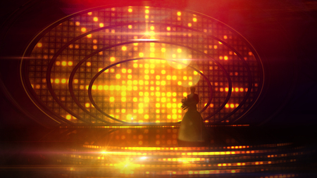 Female silhouette on stage against the festive illumination Banco de Imagens - 101027238