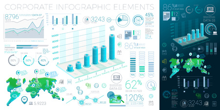 A lot of infographics elements in the growth movement  イラスト・ベクター素材