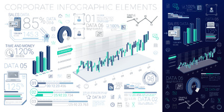 A lot of infographics elements in the growth movement Illustration