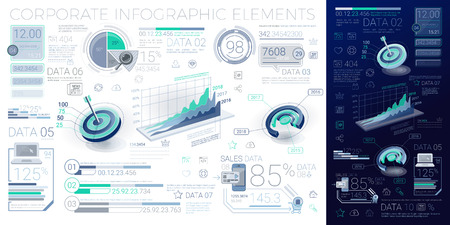 A lot of infographics elements in the growth movement 写真素材