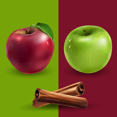 Cinnamon, green and red apples on a background.