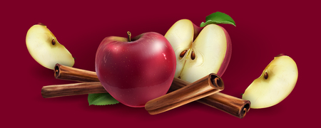 Cinnamon and red apples on a red background.
