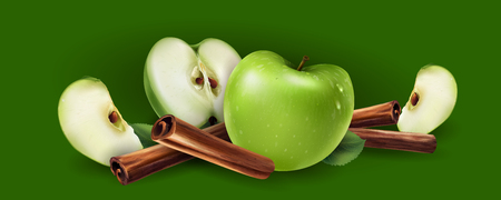 Cinnamon and green apples on a green background. Illustration