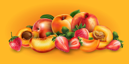 Apricot, peach and strawberry and cut slices on a bright orange background.