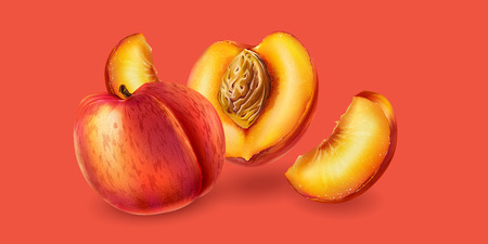 Realistic peach and slices on pink background.