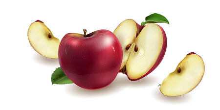 Realistic red apples on a white background.