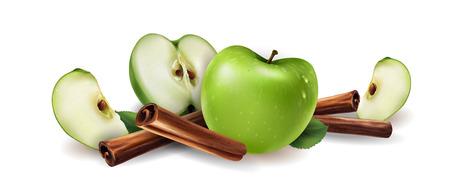Cannella e mele verdi su sfondo bianco. Vettoriali
