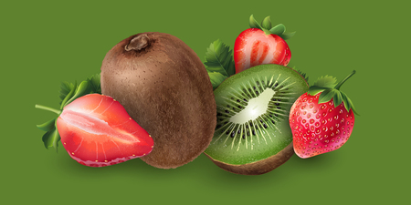 Strawberry and kiwi on green background.