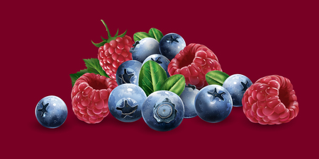 Raspberries, blueberries and strawberries on a red background. Ilustracja