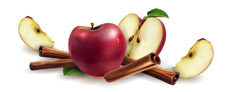 Cinnamon and red apples Stockfoto