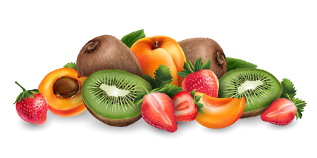 Apricot, strawberry and kiwi Imagens