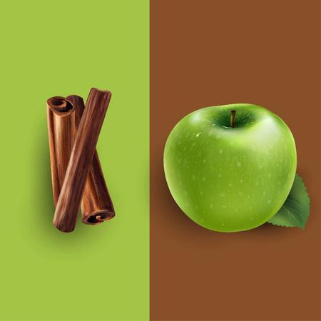 Cinnamon and green apple illustration