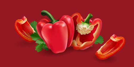 Red pepper on red background Фото со стока