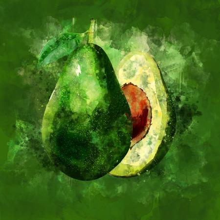 Avocado on green background. Watercolor illustration Stok Fotoğraf