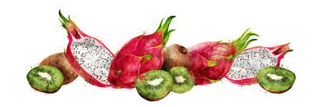 Dragon fruit and kiwi on white background. Watercolor illustration Stock Photo
