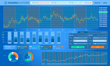 A collection of infographic elements on the topic of trading on the stock exchange. You can make UI design or quickly create a decorative design for your projects.