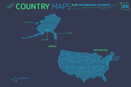 Flat vector maps collection with infographic elements.