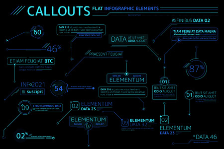 Callouts Flat Infographic Elements Collection  イラスト・ベクター素材