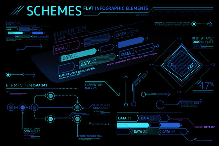 Schemes Flat Infographic Elements Collection