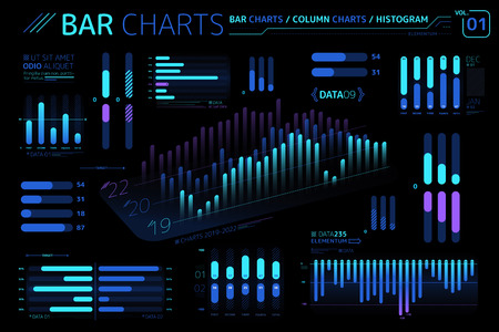 Bar Charts, Column Charts And Histograms Infographic Elements
