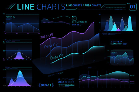 Line Charts and Area Charts Infographic Elements  イラスト・ベクター素材