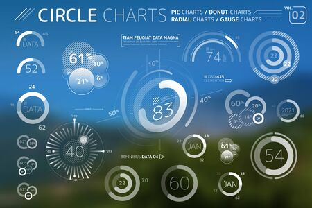 Circle Charts, Pie Charts, Donut Charts and Radial charts Infographic Elements  イラスト・ベクター素材