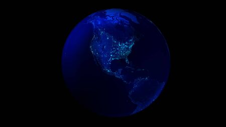The night half of the Earth from space showing North and South America.