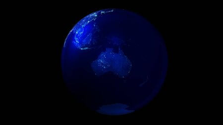 The night half of the Earth from space showing Australia and Antarctica.
