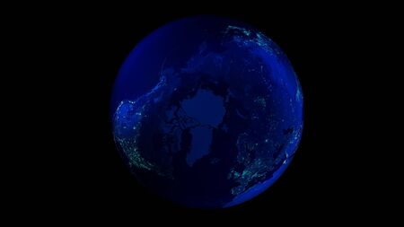 The night half of the Earth from space showing North America, Asia and Europe. 写真素材