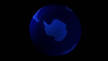 The night half of the Earth from space showing Antarctica