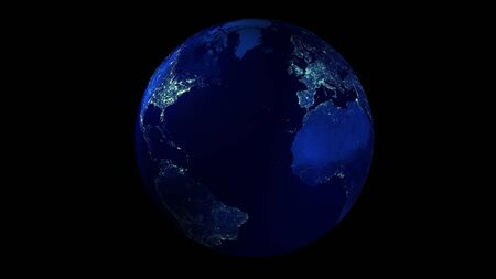 The night half of the Earth from space showing North and South America, Europe and Africa. 写真素材