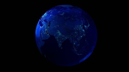 The night half of the Earth from space showing Africa, Asia and Oceania.