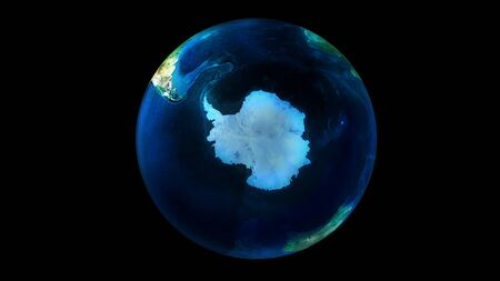 The day half of the Earth from space showing Antarctica.