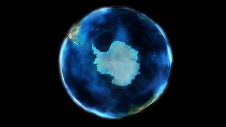 La mitad del día de la Tierra desde el espacio que muestra la Antártida.