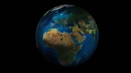 The day half of the Earth from space showing Africa, Europe and Asia.