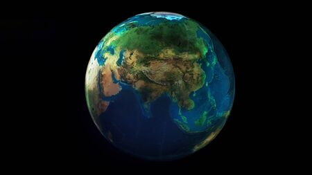 The day half of the Earth from space showing Africa, Asia and Oceania.
