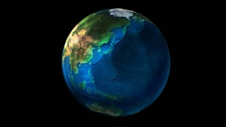 The day half of the Earth from space showing Asia, Oceania and Australia.