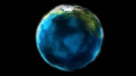 The day half of the Earth from space showing North America and Asia. 写真素材