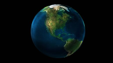 The day half of the Earth from space showing North and South America.