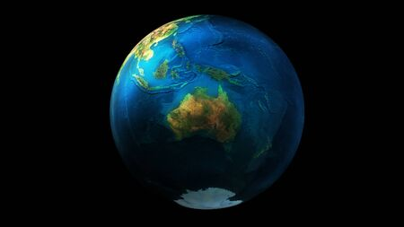 The day half of the Earth from space showing Asia, Oceania, Australia and Antarctica.