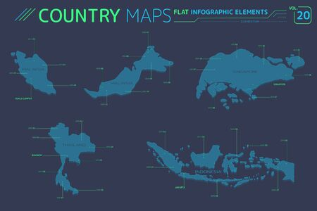 Singapore, Malaysia, Indonesia and Thailand Maps