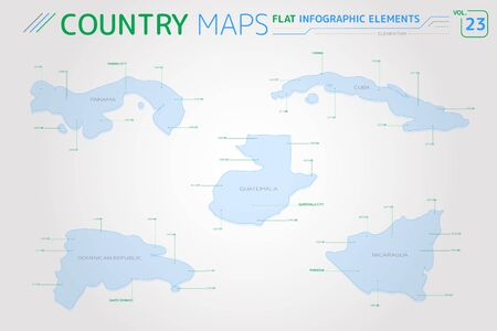 Guatemala, Panama, Nicaragua, Dominican Republic and Cuba Vector Maps