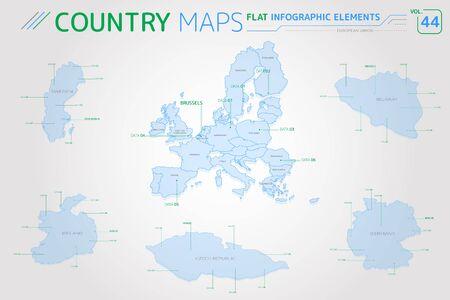 European Union, Sweden, Germany, Czech Republic, Belgium and Ireland Vector Maps