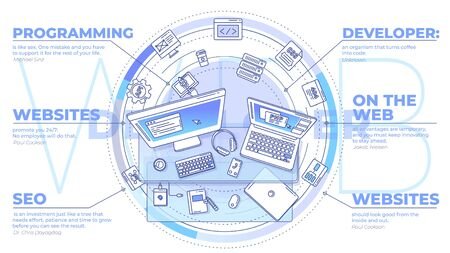Web development - promotional illustration with text blocks on this topic.