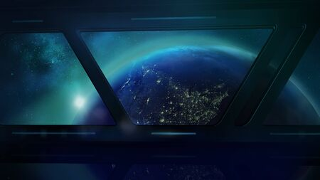 Earth from the porthole of the spaceship, 3D render Standard-Bild