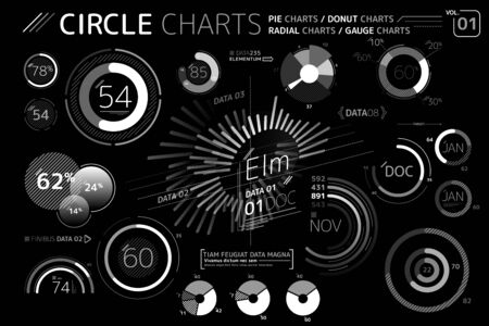 Circle Charts, Pie Charts, Donut Charts, Radial charts and Gauge Charts Infographic Elements