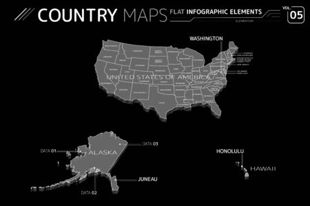 United States of America, Alaska and Hawaii Vector Maps